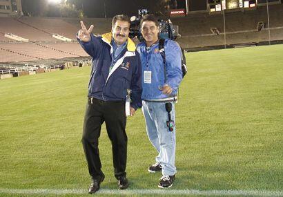 El presidente Fiore con el camarógrafo estrella, Iván Rodr...