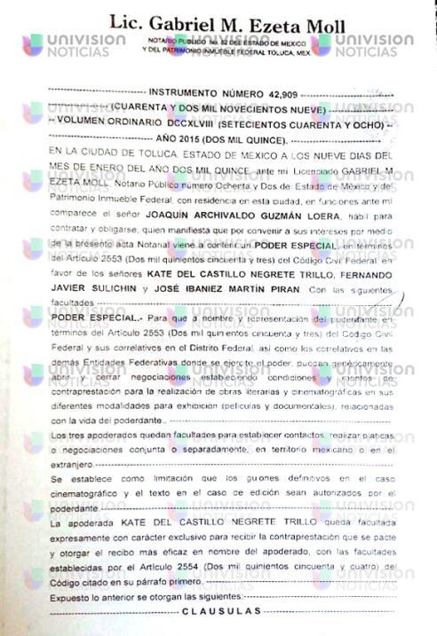Documento de El Chapo a Kate para recibir pagos por derechos de la película