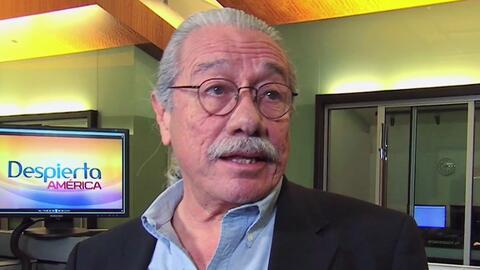 Edward James Olmos llegó a Univision a promover el voto latino