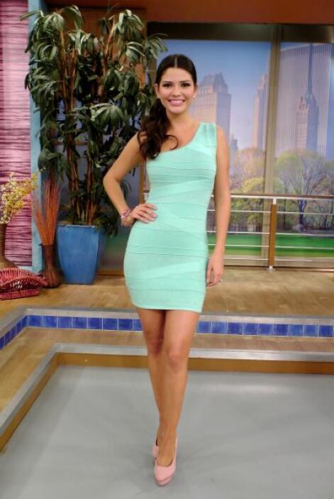Febrero 25, 2014: Un coqueto vestido en tono verde agua, combinado con u...