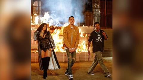 (Left to right: Cardi B, G-Eazy and A$AP Rocky in the music video for th...