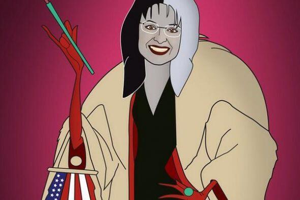En esta foto la estadounidense Sarah Palin representada como Cruela Devi...