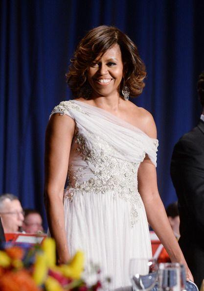 Michelle, por su parte, vistió un diseño de la firma Marchesa.