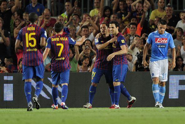 Cesc marcaba su primer gol en su regreso al Barcelona.