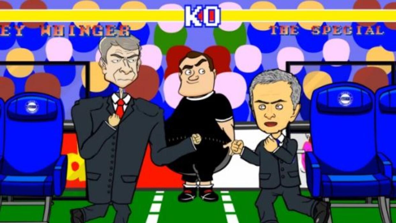 La parodia de la discusión entre los técnico de Arsenal y Chelsea.