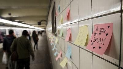 Una terapia de 'post-its' en el subway de la ciudad de Nueva York