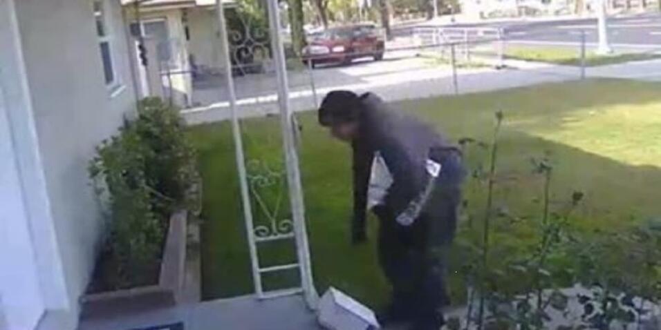 Imagen del video que captó al ladrón que se llevó una caja con excrement...