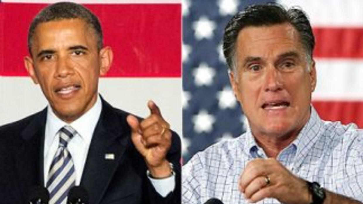 El Presidente Barack Obama y el virtual candidato republicano, Mitt Romn...