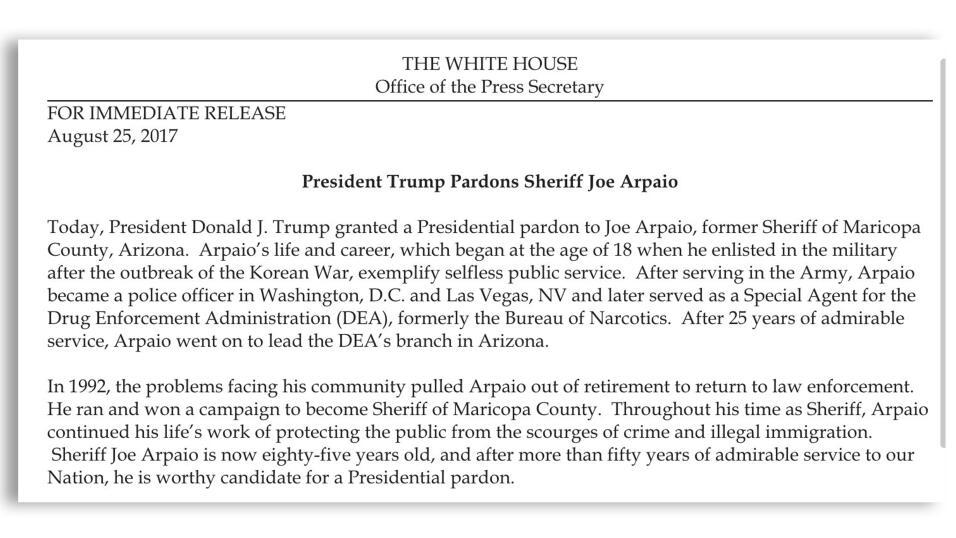 El 25 de agosto, el presidente Donald Trump indultó al ex alguacil.