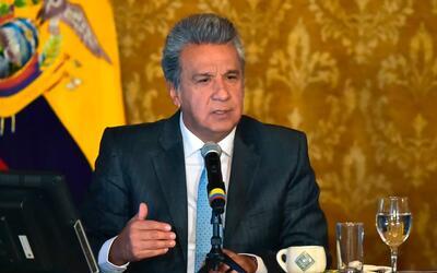 El presidente de Ecuador, Lenin Moreno, comparece en rueda de prensa en...