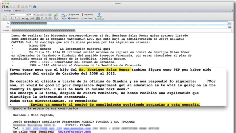 Empleado de Mossack Fonseca escribe para advertir la situación del clien...