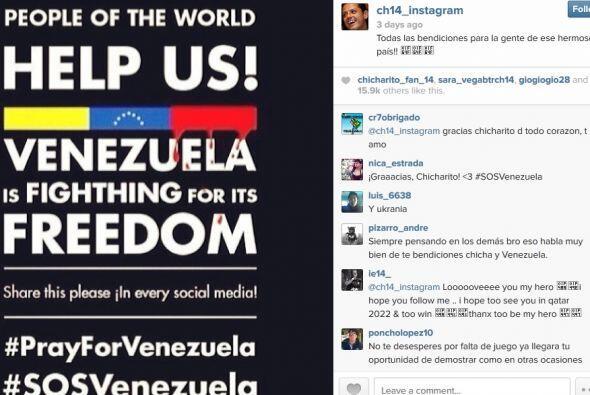 En esta mostró su apoyo a Venezuela por los conflictos sociales que vive...