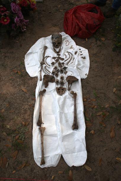 El propósito del equipo de antropólogos es examinar los restos y compara...