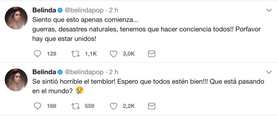 La cantante Belinda dijo que el temblor de este martes en México...