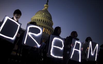 Una protesta de dreamers y simpatizantes frente al Capitolio de Washingt...