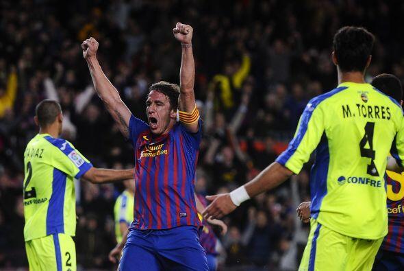 Todos festejaron el tanto de Pedro. Puyol estuvo cerca de marcar el quinto.