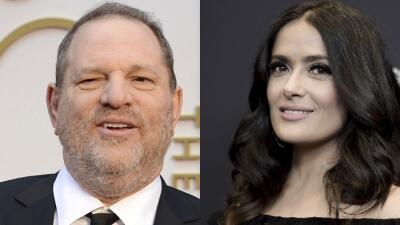 El productor de cine Harvey Weinstein y la actriz Salma Hayek.