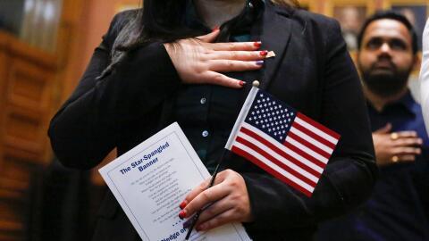 Una ceremonia de naturalización en Jersey City, Nueva Jersey.