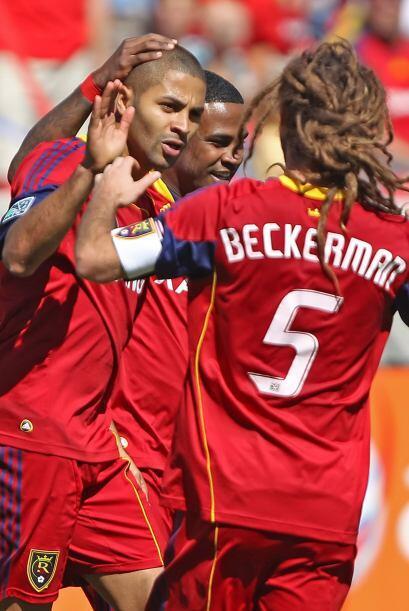 Alvaro Saborío celebra el gol de Salt Lake que significó la victoria ant...