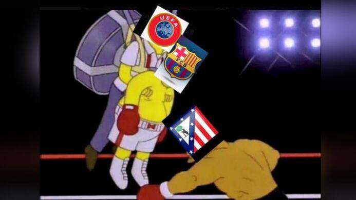 Los fanáticos hicieron bromas tras la polémica victoria del Barça-Atlético.
