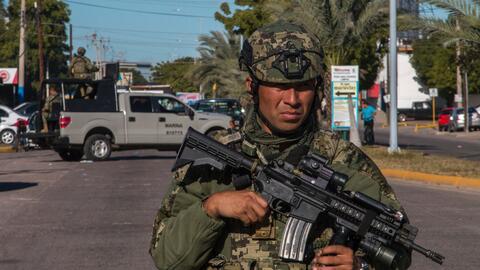 La Marina mexicana patrulla la ciudad de Los Mochis, Sinaloa, el d&iacut...