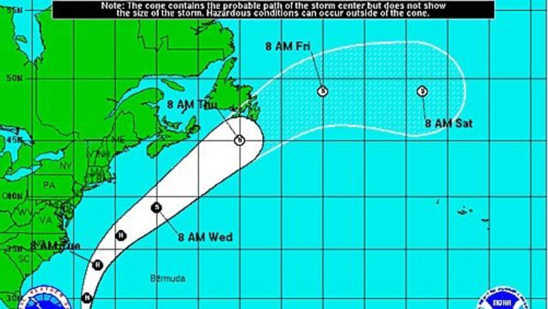 Las proyecciones indican que pasará por la costa Este y las Bermudas en...