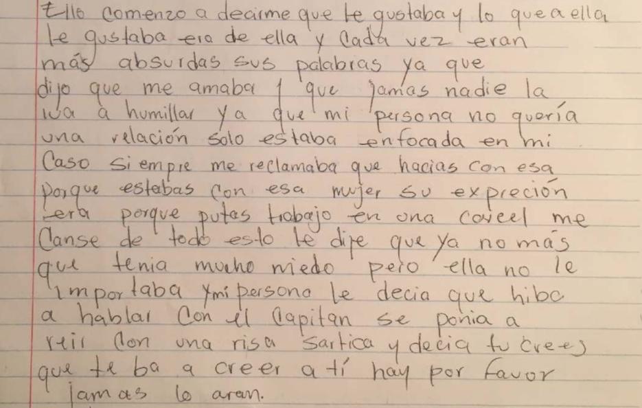 La carta en la que una inmigrante denuncia abuso sexual en centro de det...