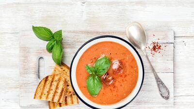 Pollo con sopa de gazpacho   Reto 28