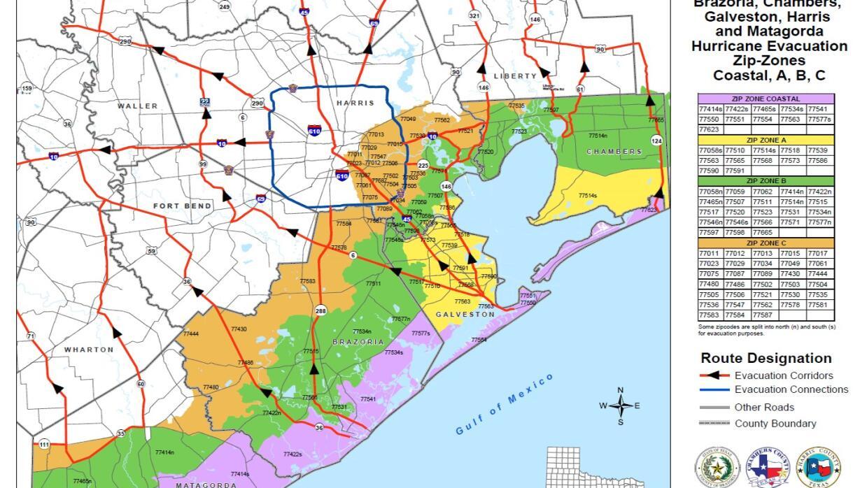 Autoridades De Galveston Emiten Aviso De Evacuación Voluntaria - Mapa de texas