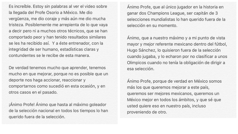 Javier Hernández expresó su consternación.