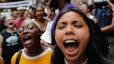 Una protesta este lunes afuera de la torre Trump, en Nueva York.