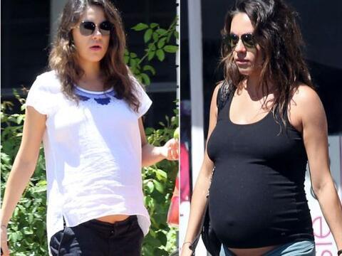 Así es como creció la enorme pancita de Mila Kunis.