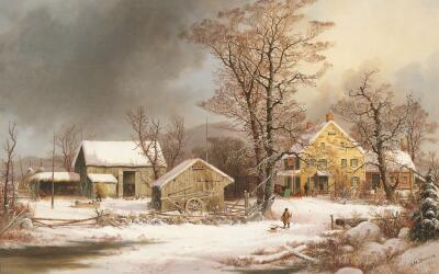 """""""Invierno en el campo: una mañana fría"""" de George Henry Durrie..."""