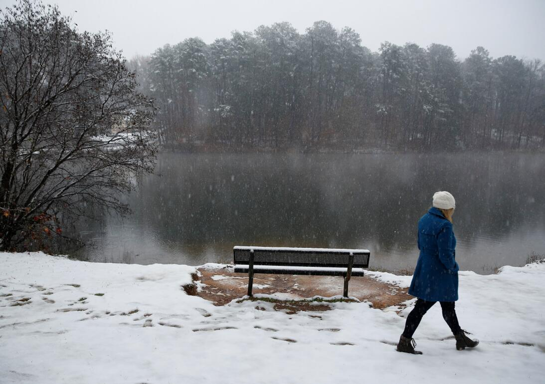 Melissa Roth, a first grade school teacher, goes for a walk in the snow...