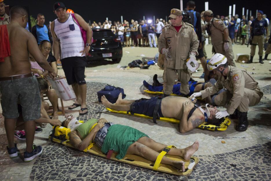 Vehículo arrolla a transeuntes en la playa de Copacabana brasil-atropell...