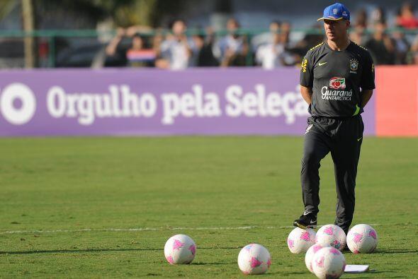 Los 18 jugadores dirigidos por el seleccionador nacional, Mano Menezes,...