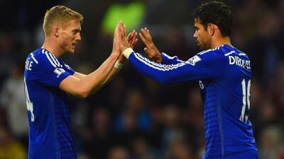 El alemán Andre Schuerrle y el hispano-brasileño Diego Costa, ambos anot...