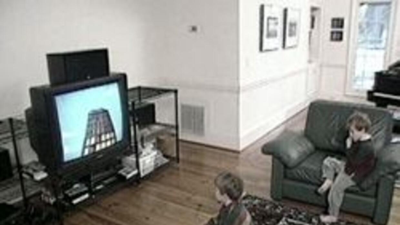 Niños mirando la television solos