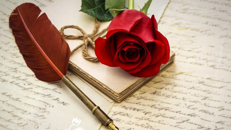 Carta de amor con una pluma y una rosa