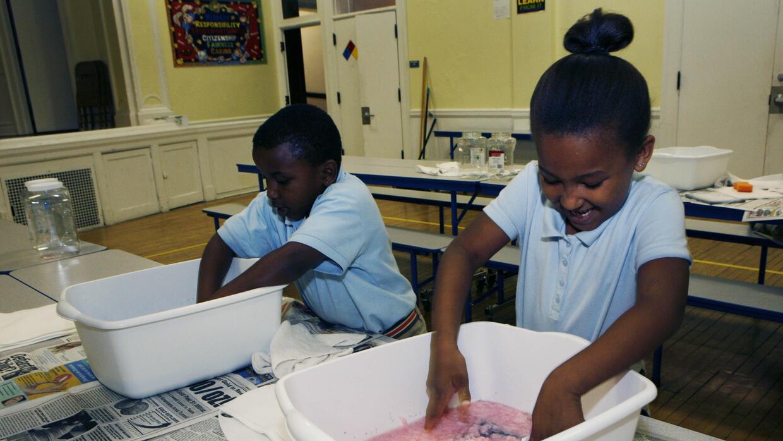 Los estudiantes de la escuela chárter Renaissance Academy trabaja en un...