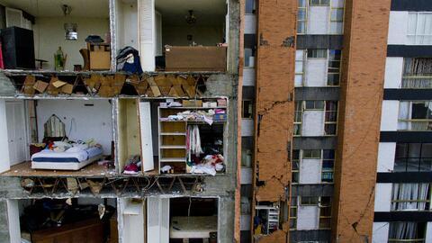 Un edificio dañado por el terremoto, en Ciudad de México.