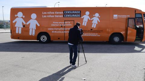 Autobús de la Libertad durante su estancia en España
