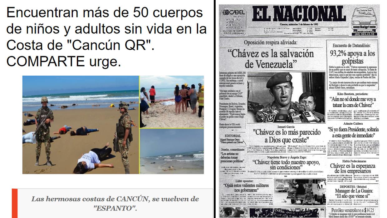 A la izquierda: noticia sobre la supuesta aparición de cadáveres en las...