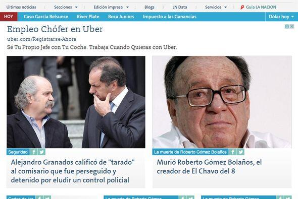 La Nación de Argentina también publicó sobre la muerte de Gómez Bolaños...
