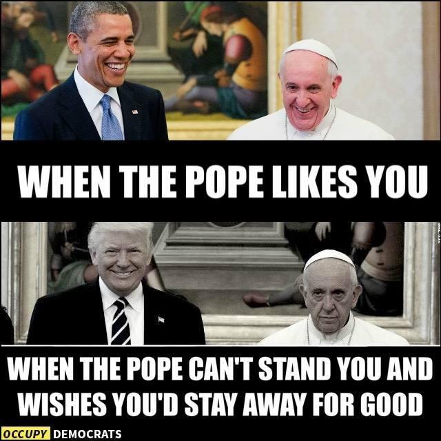 EEl papa no parecía muy feliz de la visita del presidente Trump e Intern...