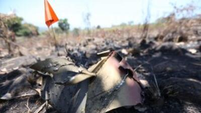 Restos del helicóptero Cougar derribado por criminales en Jalisco, México.