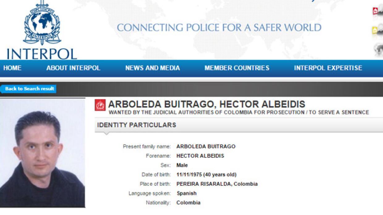Imagen de la ficha de Interpol de Héctor Albeidis Arboleda Buitrago.