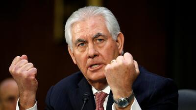 Rex Tillerson en su comparecencia en el Capitolio