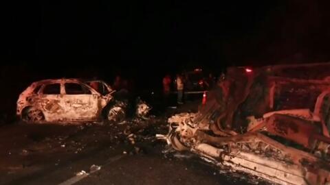 Imagen del accidente vehicular en el que murieron cinco miembros de una...