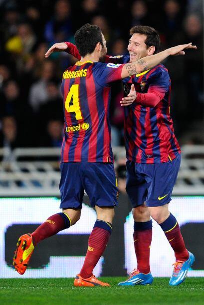 El delantero internacional argentino Leo Messi adelantó al Barcelona en...